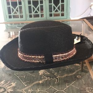 Nordstrom Black Straw Hat NWOT